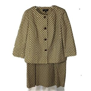 Talbots Skirt Suit sz 8/10 Brown White Lattice 3/4 Sleeve Fully Lined