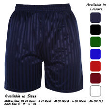 Mens boys kids children school sport shadow stripe pe shorts age 2 to 13.14 year