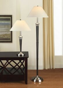 Artiva USA 9431MX Brushed Steel and Espresso Table and Floor Lamp (Set of 2)