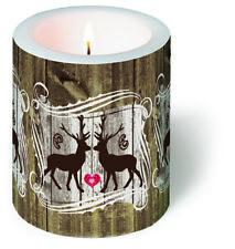 Kerze rund Stags in Love - Verliebte Hirsche Wald Herbst Weihnachten Tiere H10cm