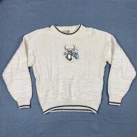 VTG Fieldmaster Mens Large Ivory Knitted Embroidered Deer Crewneck Sweater USA