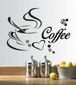Coffee Cups Kitchen Wall Stickers Vinyl Art Decals Cafe Diner Hearts DIY