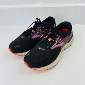 Brooks Womens Adrenaline GTS 19 Black And Purple Running Shoes Lace Up Size 10 D