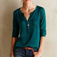 Knitted and Knotted Anthropologie Verso Green Sheer Lace Back Top Blouse Size L