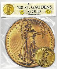 "$20 SAINT GAUDENS GOLD 72 Piece Round Jigsaw Coin Puzzle & 3"" Sticker ~ Ages 5+"