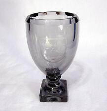 Kosta Glass Smoke Grey Vase w/ Cut Top Edge & Engraved Three Crowns Coat of Arms