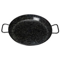 Winco Enameled Carbon Steel Paella Pan with Riveted Handle