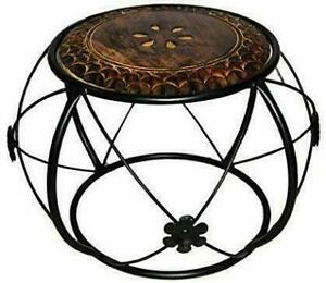 Indian Antique Style Wrought Iron and Wooden Coffee Table Center Table