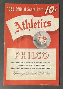 1953 Philadelphia Athletics Vs Washington Senators Program Scorecard Unscored