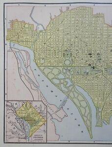Washington D.C. Potomac River Capitol Building 1888 Cram detailed city plan
