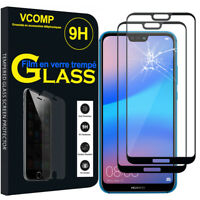 """2 Films Verre Trempe Protecteur Protection NOIR Huawei P20 Lite/ Nova 3e 5.84"""""""
