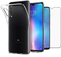 For Xiaomi Mi 9 Case Clear Slim Gel Cover & Glass Screen Protector