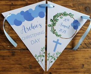 Personalised BOY Christening Baptism Naming Day  Bunting Decoration Botanical