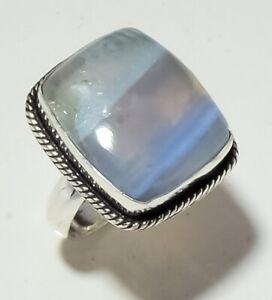 "Blue Opal Gemstone Handmade Fashion Ethnic Jewelry Ring S-8.25"" MXR-2320"