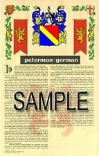 PETERMAN Armorial Name History - Coat of Arms - Family Crest GIFT! 11x17