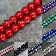 Stylish White/Black Round Glass Pearl Spacer Beads U Pick the Color&Size