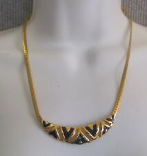 Herring Bone Gold Colored Chain Necklace with Black Chevron Design