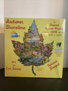 Sunsout 95298 Autumn Shoreline 1000 pc shaped jigsaw puzzle, Lori Schory, Sealed