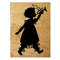 marching band parade #10 GIRL with TRUMPET unmounted rubber stamp music