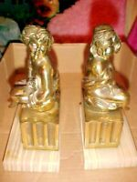 PAIR OF 2 HEAVY VINTAGE METAL FIGURAL VICTORIAN LADIES BOOKENDS ON MARBLE BASE