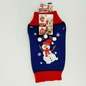 Puppy Dog Blue Christmas Winter Sweater XS Snowman Fold Down Collar