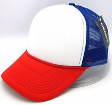 DECKY Snapback Cap USA Red White Blue Foam Mesh Trucker Hat Curved Visor NWT