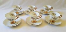 BEAUTIFUL SET OF SIX VINTAGE DELICATE C1960'S - CUPS & SAUCERS - MADE IN JAPAN