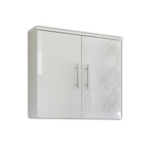 Badschrank Badezimmer Schrank Hängeschrank Wandschrank Badmöbel HOCHGLANZ WEIß