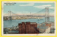 cpa Post Card USA NEW YORK CITY Williamsburg Bridge Sticker COMMODORE HÔTEL 1929