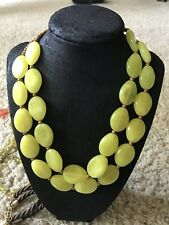 Vintage Lucite Yellow Flat Beads Oval - With Wooded Beads  Necklace
