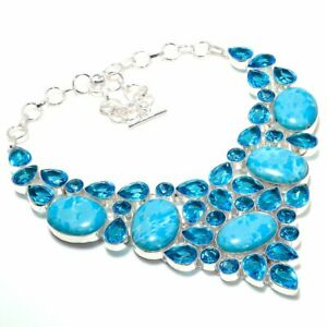 "Caribbean Larimar Gemstone Handmade 925 Sterling Silver Jewelry Necklaces Sz 18"""