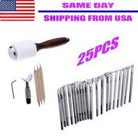 25PCS/Set Manual Leather Carving Stamp Hammer Embossing Beveler Tools Silver US