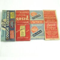 4 Vintage Matchbook Covers F&F Cough, Piso's Cough, Alka-Seltzer, Zymole Trokeys