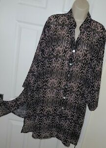 Womens🦋KASBAH🦋black mix printed loose fit longline top tunic size 24/26