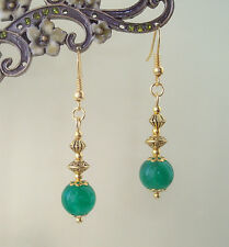 Green Quartz Gemstone Bead Gold Plated Vintage Styled Drop Earrings