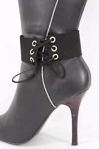 Women Black Boot Bracelet Strap Western Shoe Charm Anklet Faux Leather Corset