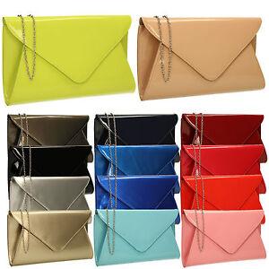 Patent Ladies Flat Clutch Bridal Party Envelope Designer Women Evening Bags UK