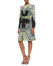 Etro Long-Sleeve Paisley Belted Dress Original $2230.00 Size - 44(10)