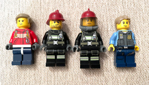 4 LEGO TOWN CITY MINIFIGURES 3 Fire Fighters & 1 Police Officer Guys