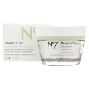 No7 Beautiful Skin Day Cream for Normal/Oily Skin Hydrates Mattifies SPF15 50ml