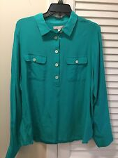 New! Banana Republic 100% Silk Aqua Long Sleeve Blouse Women's Size XL Shirt Top