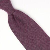 John G Hardy Mens Wool Silk Necktie Magentqa Gray Check Weave Woven Tie Italy