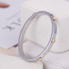 Henri Bendel Silver Rivet Logo Crystal Bangle Bracelet - Petite w/ Gift Box