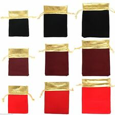 10 Gold Trim Velvet Bags Jewelry Wedding Party Favors Gifts Drawstring Pouches