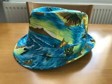 Trilby Summer Hat TU Sainsbury's Size 58 Patterned Beach Palm Trees BNWOT