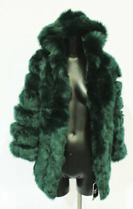 The Beauty Optimal Product Women's Faux Fur Hooded Coat CD4 Dark Green Small NWT