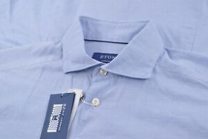 NWT Current Eton Size 41 16 Large Contemporary Dress Shirt New Blue Silk Blend