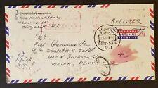 1960 Port Said Egypt to Media Pennsylvania USA Registered Air Mail Cover