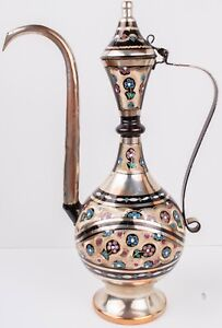 Vintage Gulistan Turkish Copper Hand Painted Floral Teapot Kettle Made in Turkey