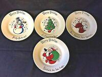 "Christmas Plates Decor Happy Holidays 8"" Plates Santa Rudolph Snowman -Set of 4"